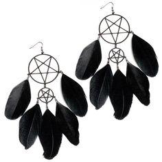 Gorgeous feathered pentagram dream catcher earrings. £24.99.