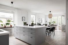 Kitchen island, grey kitchen, black and white interior