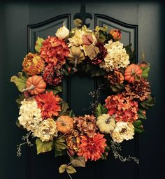 Etsy Fall Wreaths | Autumn Holiday | Laura Trevey Fall Wreaths, Autumn Wreath Diy, Holiday Door Wreaths, Halloween Door Wreaths, Autumn Wreaths For Front Door, Thanksgiving Wreaths, Pumpkin Wreath, Autumn Decorating, Fall Home Decor