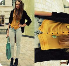 Shirt From Primark, Velvet Blazer, Acid Wash Jeans From H, Lfw Goodie Bag ;), Boots From H