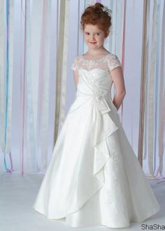 Square satin A-line White First Communion Dresses (MMF1608)
