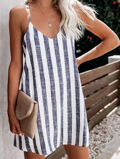Casual Sleeveless V Neck Plus Size Striped Dress Rompers Women, Jumpsuits For Women, Summer Dresses For Women, Summer Outfits, Chic Outfits, Fashion Outfits, Dress Fashion, Maternity Jumpsuit, Creation Couture