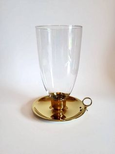 Brass Chamber Stick with Hurricane Glass  Baldwin Brass by SamsOldiesButGoodies on Etsy