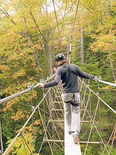 Walk in the treetops. Visitors ready to get out of the car and strap on a harness head for Historic Mill Creek Discovery Park, just south of Mackinac City) where a new park with a rock-climbing wall, zip line and canopy bridge awaits.