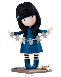 """Figura Coleccionable Gorjuss """"I Found My Family in a Book""""de Resina y pintada a Mano, presentada en una bonita caja Gorjuss. Producto Santoro London. 22 cm"""