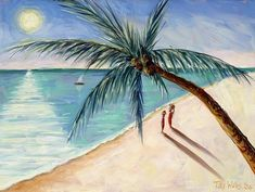 """Beach themed art """"Rustling Palm, 2004"""" by Tilly Willis available for purchase via @greatbigcanvas"""