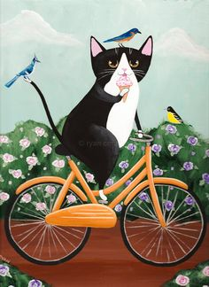 Spring Tux Cat on a Bicycle  Original Folk Art by KilkennycatArt