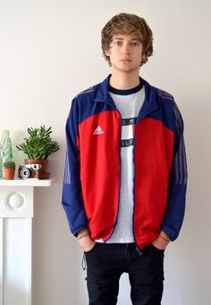 90's Vintage Adidas Red and Blue Track Jacket | Ica Vintage | ASOS Marketplace