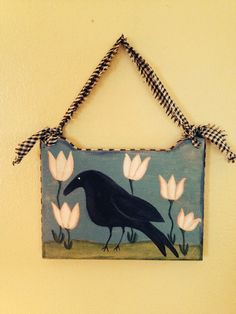 Primitive Garden Crow Hand Crafted and Painted ATGOFG on Etsy, $10.00