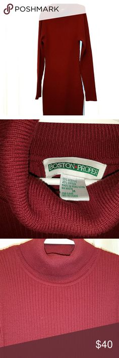 """Vintage BostonProper turtleneck sweater maxi dress Wine color heavyweight sweater dress,  perfect for cold months when you want every inch covered.  By it still manages to be sexy!  A little form fitting and fits kind of like a small when labeled M.  Maxi length,  absolutely perfect length on me at 5'4"""" and about 105lbs. It has only been worn one time,  before I locked my hair... It will sadly not fit over my dreadlocks any longer.  Lol. In ABSOLUTELY EXCELLENT gently used condition.  Like…"""