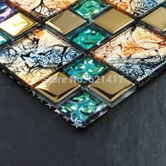 Iridiscente siete colores sinfonía oro electrochapa vidrio cristalino del mosaico azulejos para backsplash de la cocina del suelo del baño etiqueta