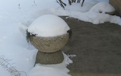 Hypertufa-trough-with-snow:: My hypertufa is left outside year-round and there has never been a problem with cracking or breaking. It gets no special treatment, no cozy cover-ups, and none of it has ever been sealed in any way. It seems to make no difference what recipe is used, or if it has been reinforced.