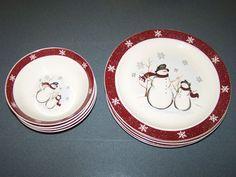 Royal Seasons CHRISTMAS SNOWMAN DISHES Stoneware 9 PC DINNERWARE SET #RoyalSeasons & Royal Seasons Stoneware Christmas Serving Dish Set 6 pc | christmas ...