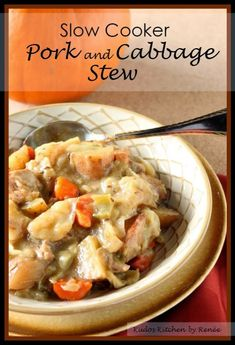 Pork and Cabbage Stew for the Slow Cooker #SundaySupper / www.kudoskitchenbyrenee.com Cabbage Slow Cooker, Crock Pot Slow Cooker, Crock Pot Cooking, Slow Cooker Recipes, Crockpot Recipes, Cooking Recipes, Pork Stew Slow Cooker, Crock Pots, Pork Stew Meat