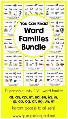 You Can Read Word Families Bundle ~ 15 CVC word families $12