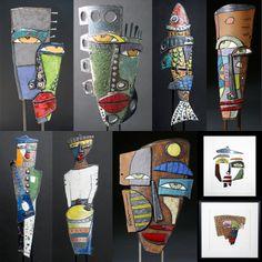 Ceramic Figures, Ceramic Artists, Kimmy Cantrell, African Art Projects, 7th Grade Art, Ceramic Mask, Masks Art, Clay Masks, Cardboard Art