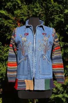 Sweater Sleeve Embroidered Denim Jacket  Upcycled by UpTickChic, $30.00