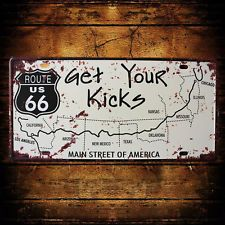 Decorative Novelty License Plate Tin Sign - Get Your Kicks on Route 66 - USA