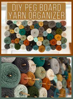 Diy yarn wall peg board storage 18 super ideas for knitting yarn storage display Craft Room Storage, Fabric Storage, Diy Yarn Storage Ideas, Fabric Boxes, Fabric Basket, Diy Peg Board, Peg Boards, Yarn Organization, Diy Yarn Organizer