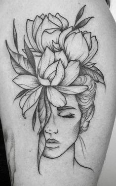 Image in Admin's images album Cool Art Drawings, Pencil Art Drawings, Art Drawings Sketches, Body Art Tattoos, Sleeve Tattoos, Face Tattoos For Women, Abstract Portrait Painting, Flower Tattoos, Flower Tattoo Designs
