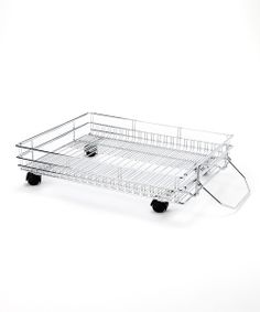 Instantly create more space in the pantry or closet with this sleek steel floor shelf. Expandable for a perfect fit, it rolls for quick access to essentials.