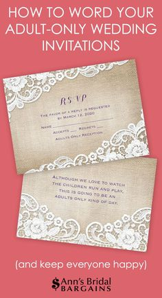 etiquette states that the best way to communicate an adult only wedding is by properly addressing the inner envelopes of your wedding invitation - Adults Only Wedding Invitation Wording