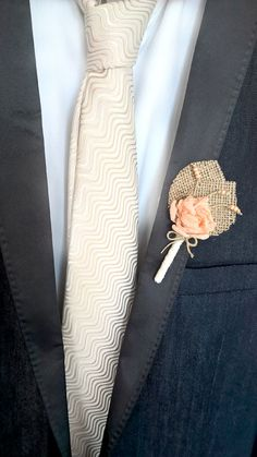 Hey, I found this really awesome Etsy listing at https://www.etsy.com/listing/195252999/peach-wedding-boutonniere-burlap