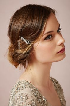 Scarab Wing Bobby Pin: Swarovski crystals decorate antique silver in an understated design that harks to the glamour of the Golden Age, with Antique silver plated pewter, Swarovski crystals.