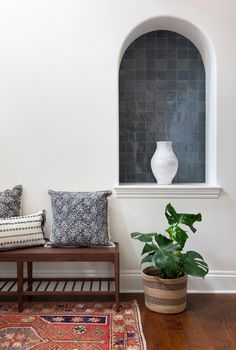 The Trusted Online Artisan Tile Store: High Quality Designer Tile Shop tempered steel is a medium gray at it's finest. when charcoal gray is too, well, charcoal and lig Niche Decor, Art Niche, Niche Living, Living Room, Wall Nook, Tile Stores, Tile Design, Home Renovation, Decoration