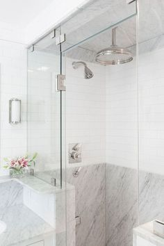 9 Vivacious Clever Hacks: Shower Remodeling Ideas Small shower remodel on a budget diy.Shower Remodeling Ideas Small fiberglass shower remodel home depot.Corner Stand Up Shower Remodel. White Marble Bathrooms, Marble Showers, Small Bathroom, Bathroom Shower Panels, Shower Floor, Shower Tiles, Rain Shower, Shower Fixtures, Dream Shower