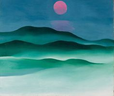 """RECOLLECT VINTAGE : """"Georgia O'Keeffe Pink Moon over Water, 1924. Oil on canvas. """""""