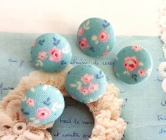 Fabric Buttons Covered Button Floral Button Blue Pink by RetroNaNa, $4.20