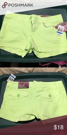 Size 9 juniors shorts. Lime green Lime green juniors shorts. Never worn with tags Wallflower Shorts Jean Shorts