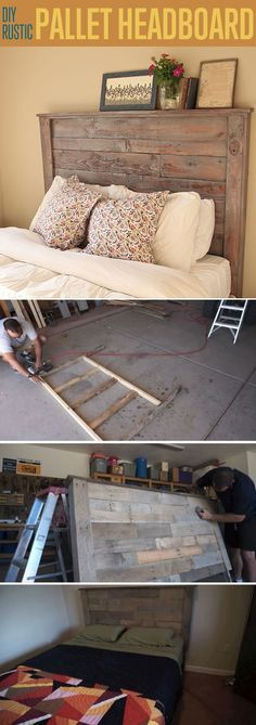 Rustic DIY Pallet Headboard Tutorial by DIY Ready at http://diyready.com/diy-headboards-for-every-home/