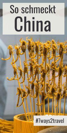 """""""Wie schmeckt das Essen in China?"""" werde ich oft gefragt. Skorpione findest Du auf Nachtmärkten und ist vielleicht nicht so nach jedermanns Geschmack. Alltägliches chinesisches Essen ist aber großartig! In jedem Landesteil schmeckt das Essen in China anders und es gibt andere Gerichte. Es gibt auch einige """"typisch chinesische Gerichte"""", die Du im ganzen Land findest. Mehr übers Essen in China und viele Hintergrundberichte, Reisetipps und Erfahrungen im Reiseblog. #7ways2travel #abenteuer In China, Asia, Highlights, Lovers, Travel, Trans Siberian Railway, Chinese Food, Adventure Travel, Travel Inspiration"""