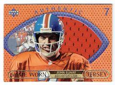 1997 Upper Deck Game Jerseys #GJ7 John Elway BV $200.00 John Elway, Football Trading Cards, Upper Deck, Denver Broncos, Football Helmets, Rest, Games, Country, Rural Area