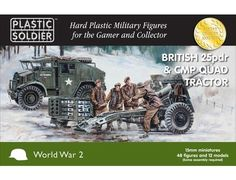 The Plastic Soldier Company 15mm 25pdr gun & CMP Quad Tractor from the plastic model kits range provides a selection of highly detailed miniatures that accurately recreate the real life Canadian guns and crew from World War II.