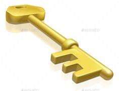 Brass or Gold Key Illustration