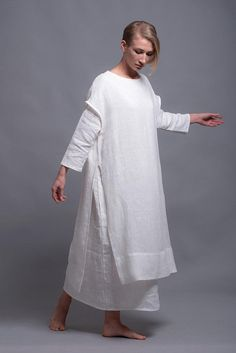 White Linen Tunic Dress SANGA, Viking Wedding White Dress Costume Medieval Style Festival Clothing, Large Linen Dress Summer Natural Clothes Source by Shantimama White Dresses White Linen Dresses, White Dresses For Women, White Gowns, White Wedding Dresses, Wedding White, Summer Dress Outfits, Dress Summer, Festival Outfits, Festival Clothing