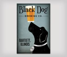 LABRADOR BREWING COMPANY Canvas Wall Art. Ready-to-hang. Craft beer and a crafty pup. The dog tag name, city location, dog color, and background