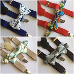 Bow Tie/Suspenders Set ready to ship! Fits ages 1-6 years. Leave choice and age to be invoiced. 2 each available $15 Shipped!  Choose from: Blue & White Anchors - 1 left Red Superman - Sold Tan & Mint - Sold  Brown & Gray Stag - Sold