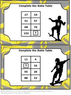 Ratio Tables Math Task Cards and More -  These math activities focus on Grades 6 and 7 Common Core skills: Ratios & Proportional Relationships. You will receive task card ideas, 26 Complete the Table task cards, student response form plus key, matching game cards, matching game form plus key, and an activity for students to create their own tables.