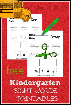 Here's a fun sight word printable set for kindergarteners. Hurry! It's free!