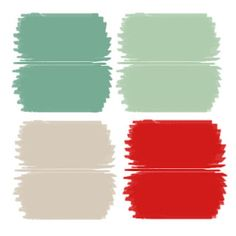 mint, sea foam, red, grey....it really does work! will look great with the white sofa....