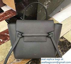 Celine Nano Belt Bag in Grained Calfskin 185003 Gray 2018