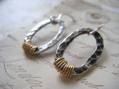 hoop+style+earrings+oxidized+fine+silver+mixed+metals+by+Candies64,+$34.00