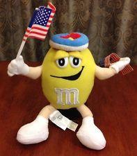 "M&Ms Plush Yellow Peanut Patriotic AMERICAN Flag 8"" Doll Figure M&M Candy"