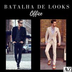 BATALHA DE LOOKS   PRETO X BEGE Double Breasted Suit, Suit Jacket, Blazer, Suits, Jackets, Fashion, Battle, Beige, Down Jackets