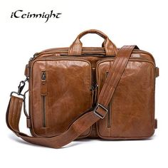 iCeinnight Luxury Real Genuine Leather Men Bags Business Laptop Briefcase Tote Bag Multi-fuction Handbags Casual Mens Travel Bag
