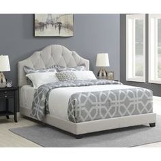 Diamond Sofa Chesterfield Tufted Bed with Scrolled Headboard and Nail Head Accent - Sand Linen, Size: Eastern King Tufted Bed, Upholstered Platform Bed, Upholstered Beds, Sleep Number Mattress, Bed Reviews, Headboard And Footboard, Headboard Ideas, New Beds, Bedroom Furniture